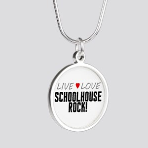 Live Love Schoolhouse Rock! Silver Round Necklace