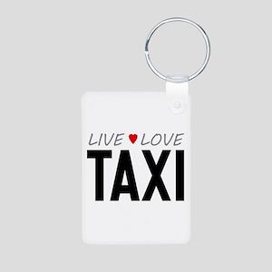 Live Love Taxi Aluminum Photo Keychain