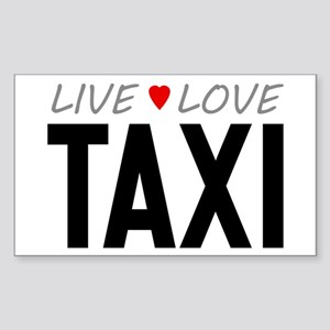 Live Love Taxi Rectangle Sticker