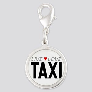 Live Love Taxi Silver Round Charm