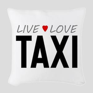 Live Love Taxi Woven Throw Pillow