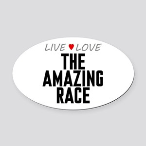 Live Love The Amazing Race Oval Car Magnet