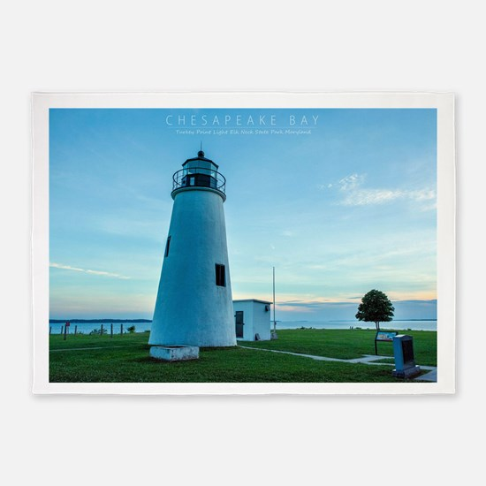 Turkey Point Light Maryland. 5'x7'Area Rug