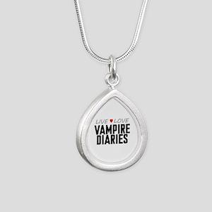 Live Love Vampire Diaries Silver Teardrop Necklace