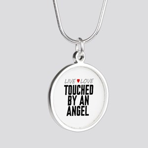 Live Love Touched by an Angel Silver Round Necklac