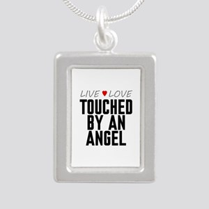 Live Love Touched by an Angel Silver Portrait Neck