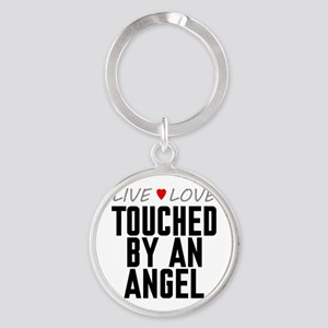 Live Love Touched by an Angel Round Keychain