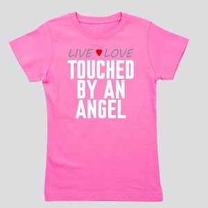 Live Love Touched by an Angel Girl's Dark Tee