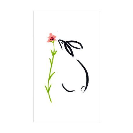 single pink flower Rectangle Sticker