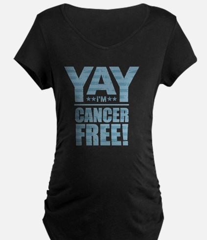 Cancer Free - Blue Maternity T-Shirt