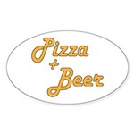 Pizza And Beer Sticker (Oval 10 pk)