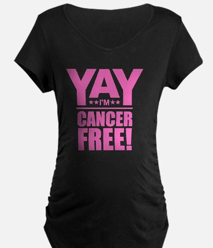 Cancer Free - Pink Maternity T-Shirt