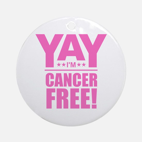 Cancer Free - Pink Round Ornament
