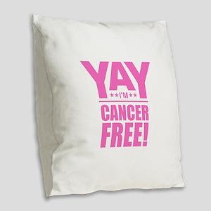 Cancer Free - Pink Burlap Throw Pillow