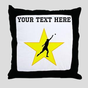 Shot Put Silhouette Star (Custom) Throw Pillow