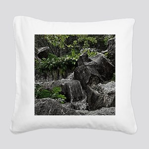 Waterfall Woodcut Square Canvas Pillow