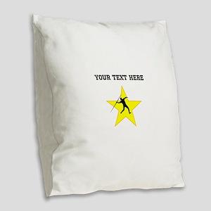 Javelin Throw Silhouette Star (Custom) Burlap Thro