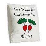 Christmas Beets Burlap Throw Pillow