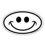 Smiley Face Oval Euro Sticker