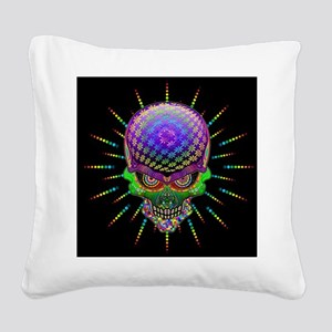 Crazy Skull Psychedelic Explosion Square Canvas Pi