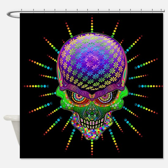 Crazy Skull Psychedelic Explosion Shower Curtain
