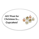 Christmas Cupcakes Sticker (Oval 10 pk)