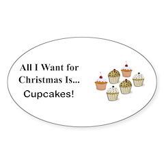 Christmas Cupcakes Sticker (Oval 10 pk)