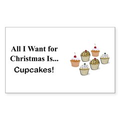 Christmas Cupcakes Sticker (Rectangle 50 pk)