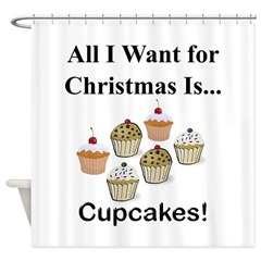 Christmas Cupcakes Shower Curtain