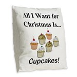 Christmas Cupcakes Burlap Throw Pillow
