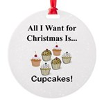 Christmas Cupcakes Round Ornament