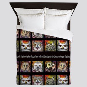 knowledge of good and quote with owl a Queen Duvet