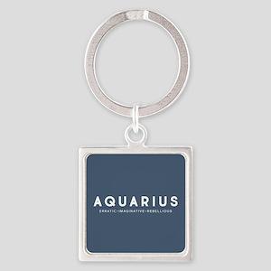 Aquarius Erratic Imaginative Rebel Square Keychain