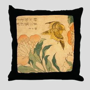 Peony and Canary by Hokusai Katsushik Throw Pillow