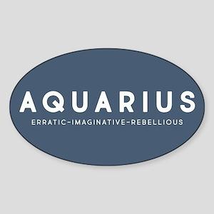 Aquarius Erratic Imaginative Rebell Sticker (Oval)