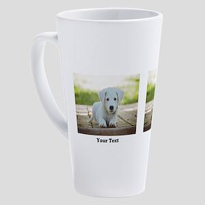 Personalize 2 photos 2 texts 17 oz Latte Mug