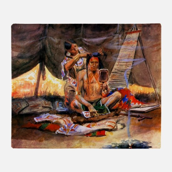 Native American Couple Throw Blanket