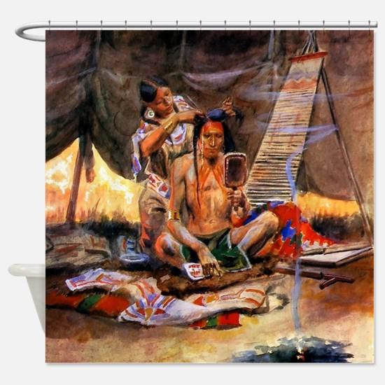 Native American Couple Shower Curtain
