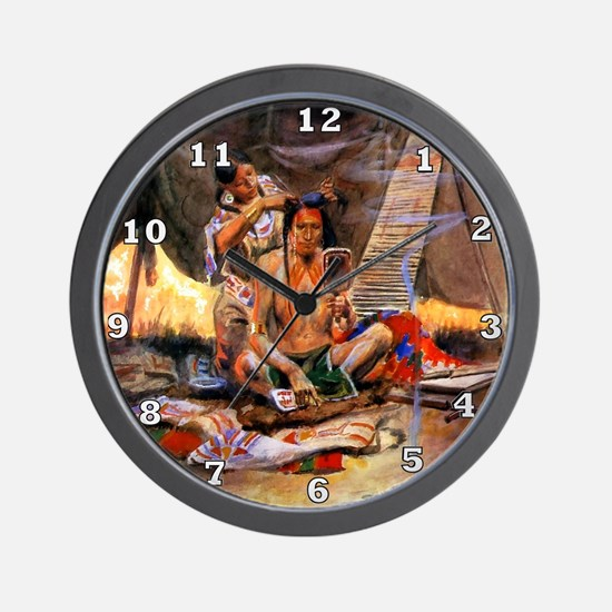Native American Couple Wall Clock