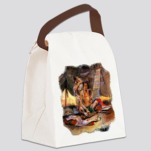 Native American Couple Canvas Lunch Bag