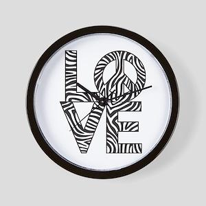Love Peace Zebra Wall Clock