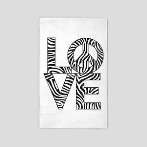 Love Peace Zebra 3'x5' Area Rug