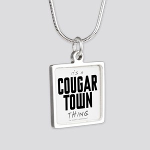 It's a Cougar Town Thing Silver Square Necklace