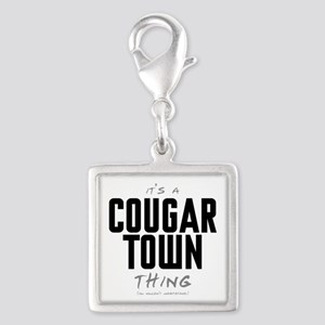 It's a Cougar Town Thing Silver Square Charm