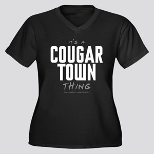 It's a Cougar Town Thing Women's Dark Plus Size V-