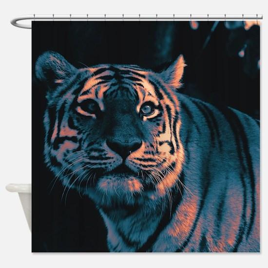 Tiger, Sunset Shower Curtain