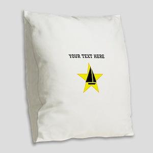 Sail Boat Star (Custom) Burlap Throw Pillow