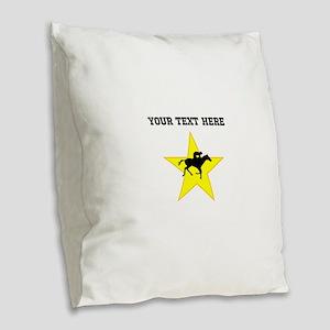 Horse Racing Silhouette Star (Custom) Burlap Throw