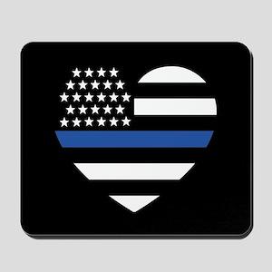 Blue Lives Matter Heart Mousepad