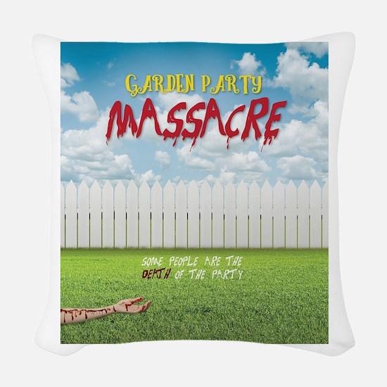 Garden Party Massacre Woven Throw Pillow